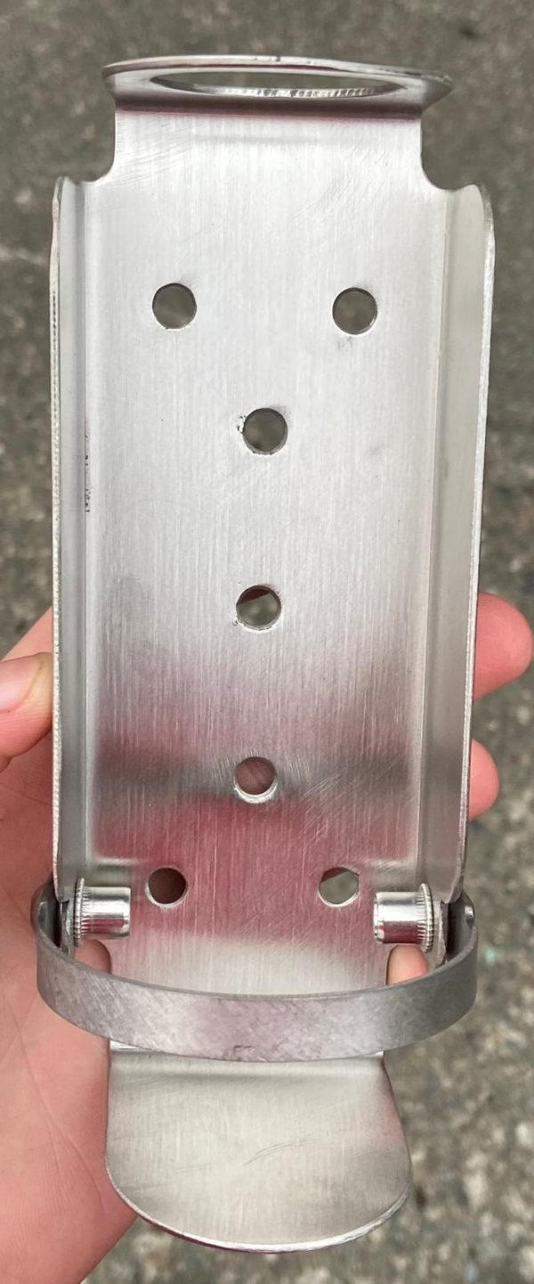 Outdoor anti-theft hand sanitizer dispenser bracket available from Doody Engineering
